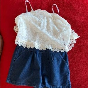 Girls outfit attached jeans and blouse